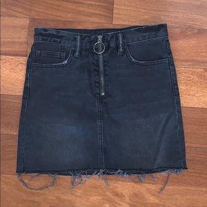 Grey denim mini skirt with zipper detail